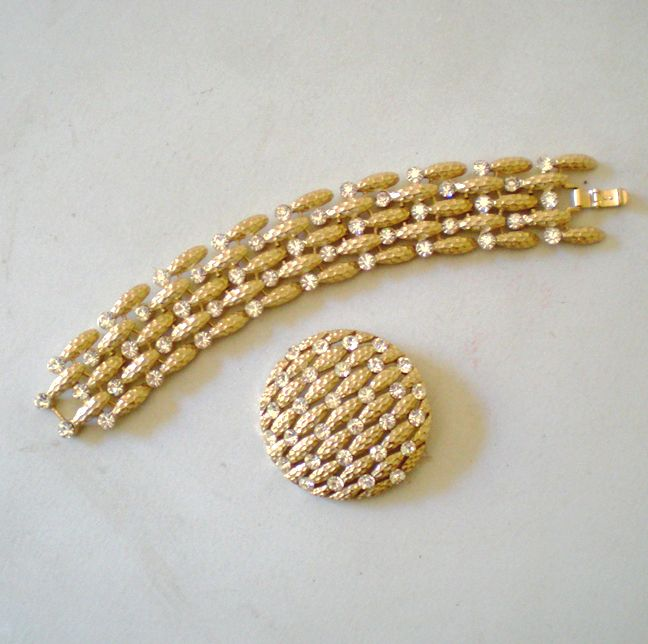 Flashy Vintage Signed Crown Trifari Bracelet and Brooch