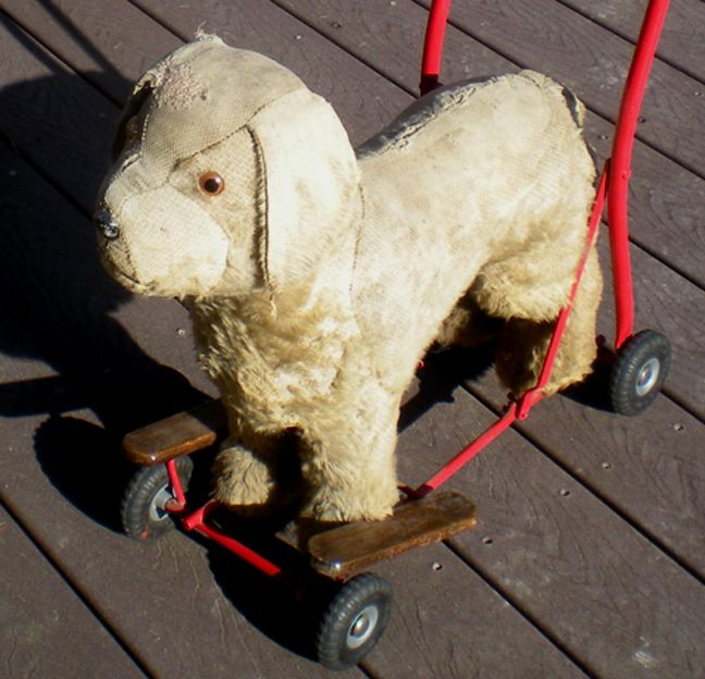 Vintage Metal Toy Dog S Wheels