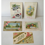 (5) Old  Embossed Holiday Postcards New Years Easter