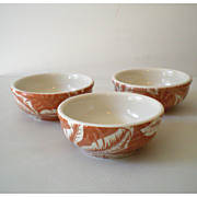 (3) Wallace China Restaurantware Bowls Palm Leaf