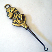 Solid Brass Victorian Figural Button Hook