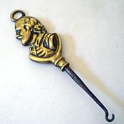 Solid Brass Victorian Figural Button Hook