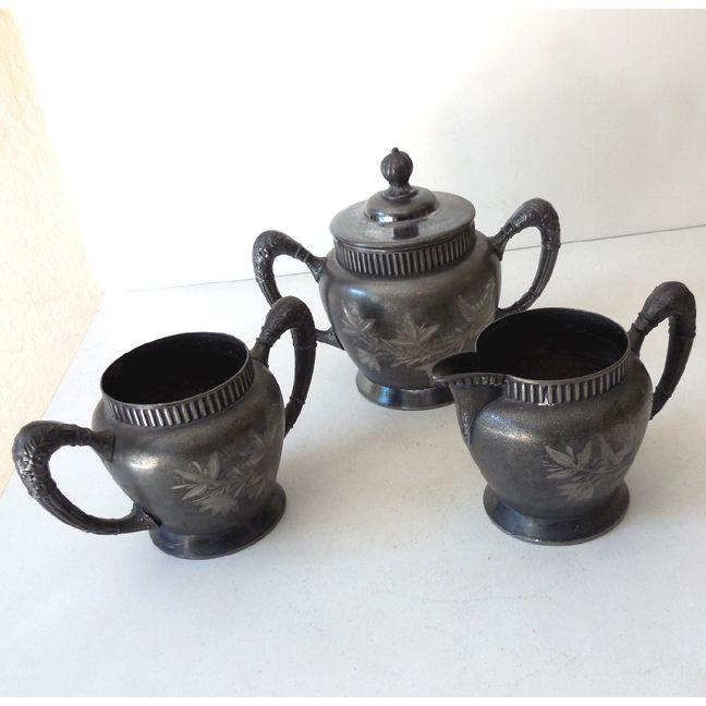 Silver Plated  Set Creamer & Sugar & Lidded Vessel