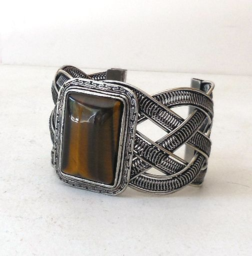 Massive Vintage Bracelet With a Huge Tiger Eye Stone