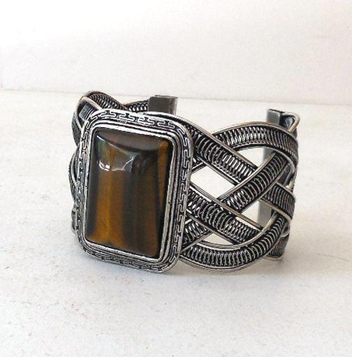 Massive Vintage Bracelet With a Huge Tiger Eye Stone