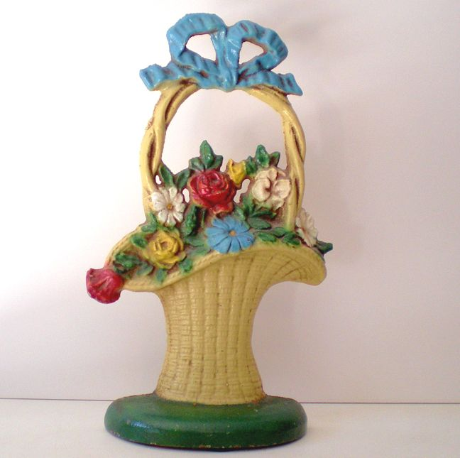 Nice Victorian Door Stop French Floral Basket Motif