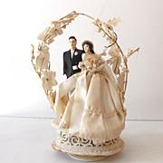 Large Vintage 1940s Wedding Cake Top Bride and Groom