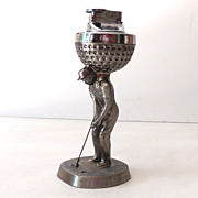 Vintage Figural Table Lighter Golfer and Golf Ball