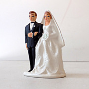 1950s Wedding Cake Top Bride and Groom