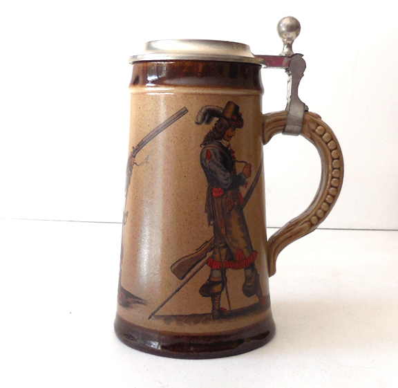Vintage German Lidded Beer Stein Marked M R Marzi & Remy