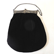 Lovely Victorian Black Velvet Hand Bag Purse