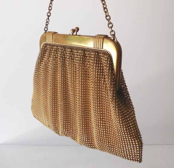 Vintage Whiting Davis Gold Beads Mesh Purse