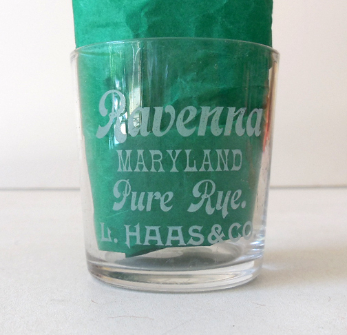 Pre Prohibition Advertising Shot Glass Ravenna Maryland