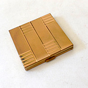 Vintage Volupte` Gold Tone Powder Compact