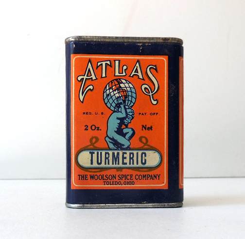 Scarce Vintage ATLAS Spice Tin Turmeric