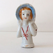 Small Unmarked Half Doll With Bonnet