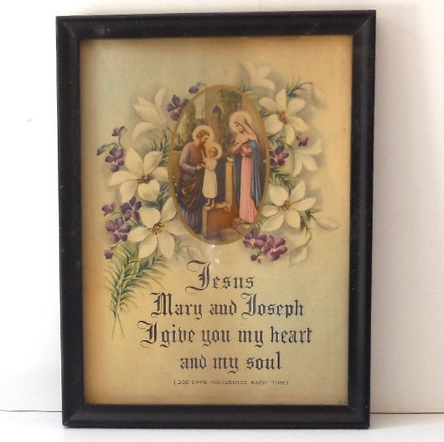 Holy Family And Prayer Vintage Framed Print
