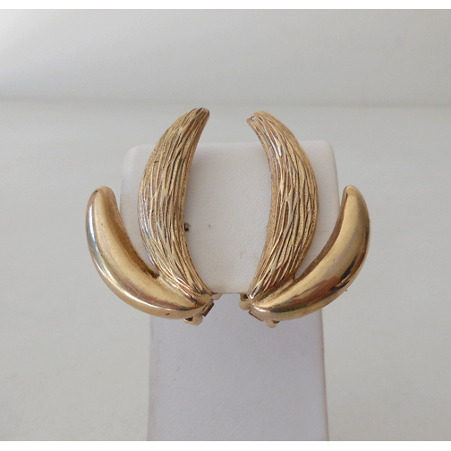 Pair Signed Bergere Clip Back Earrings