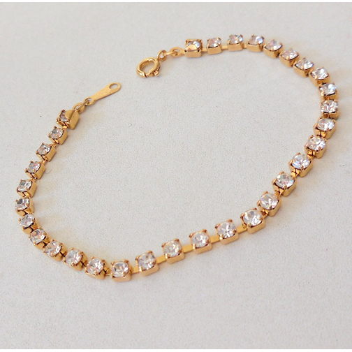 Gold Colored and Faux Diamonds Tennis Bracelet