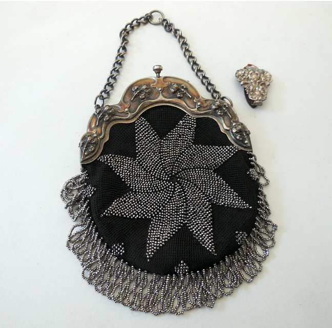 Antique Victorian  Beaded Purse With Clip