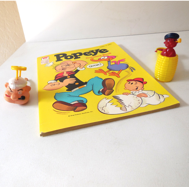 (3) Popeye Toys Coloring Book Bubble Pipes