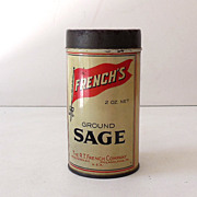 Vintage Round French's Spice Tin Ground Sage