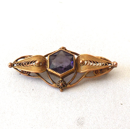 Victorian Spun Gold and Amethyst Brooch 10K