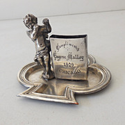 Antique Silver Plated Matches Holder With Cherub 1909