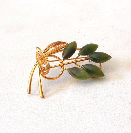 Lovely Gold Tone Flower Brooch Faux Jade Petals
