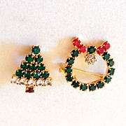 Set of 2 Small Sparkly Christmas Scatter Pins