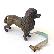 RARE Antique Brass Figural French Poodle Tape Measure
