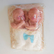 Twin Celluloid Baby Boy Dolls In Original Package
