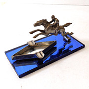 Fabulous Art Deco Metal Race Horse Ashtray