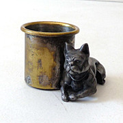 1930s French Bulldog Metal Toothpick Holder Anatomically Correct