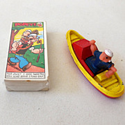 (2) Vintage Popeye Items Corgi Boat and Primrose Card Set