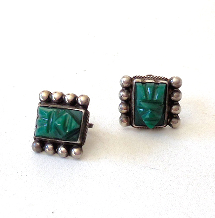 Sterling Silver and Green Stone Aztec Indian Earrings
