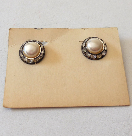Vintage 1940s Clip Back Earrings on Card