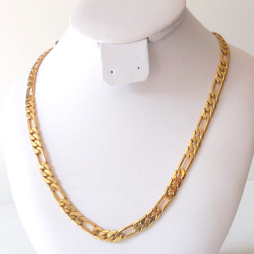Heavy Figaro Link 24k Gold Filled Necklace 22 Inch