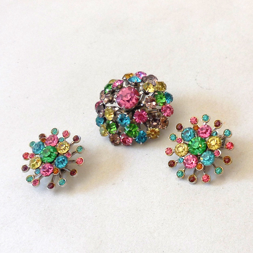 Flashy 1950s Coro Starburst Brooch and Earrings Set