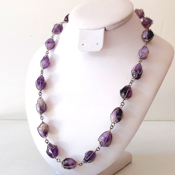 Natural Amethyst Stones Necklace Caged in Silver