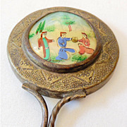 Vintage Hand Held Mirror MOP Hand Painted Scene