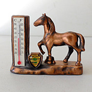 Solid Copper Souvenir Horse Thermometer Monterey