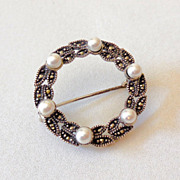 Lovely Vintage Sterling Faux Pearls and Marcasite Brooch
