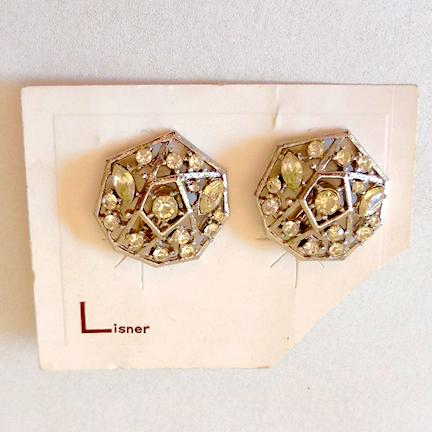 Vintage Rhinestones Earrings on Lisner Card