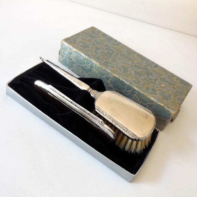 Vintage Sterling Silver Comb & Brush Set In Box