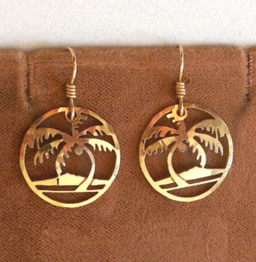 Vintage Wild Bryde Hawaiian Palm Tree Earrings