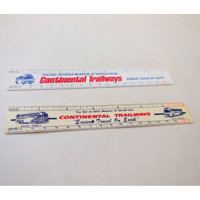 Pair Continental Trailways Advertising Rulers