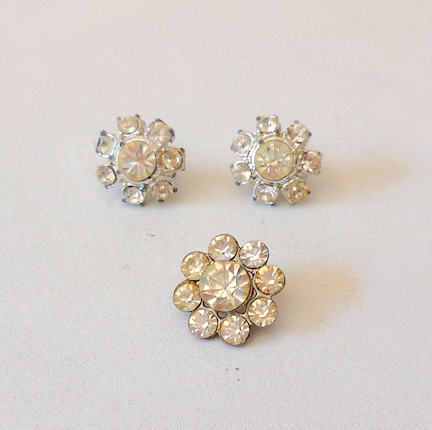 Vintage Rhinestone Earrings + Matching Hat Button