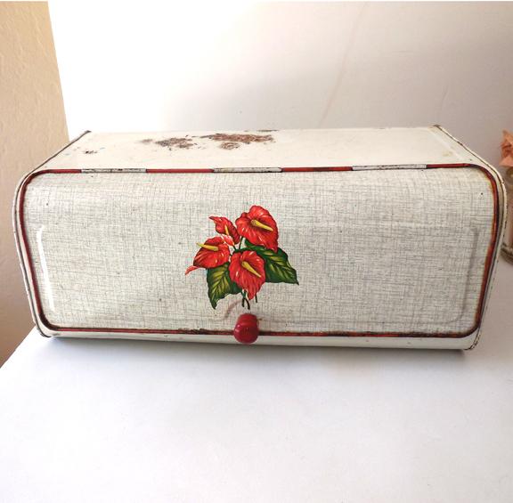Vintage Hawaiian Anthurium Tin Bread Box
