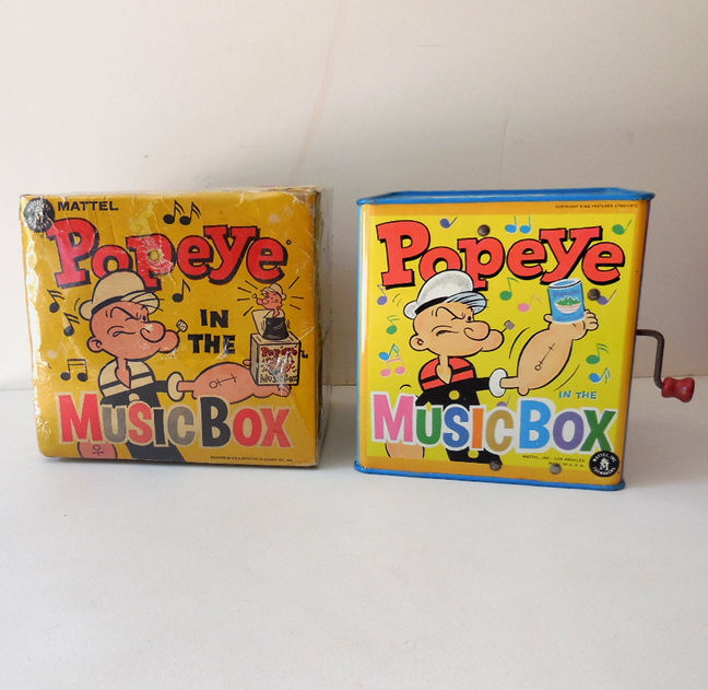 1950s Tin Popeye Jack in the Box w/ Original box